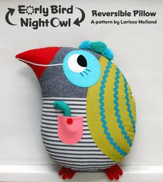 mmmcrafts: Early Bird/Night Owl reversible pillow pattern is in the shop!