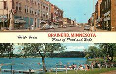 Hello from Brainerd Minnesota Postcard