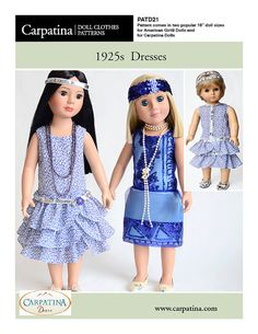 """1925s Period Dress Pattern as Downloadable PDF, Comes in 2 sizes: for 18"""" American Girl and 18"""" Slim Carpatina dolls"""