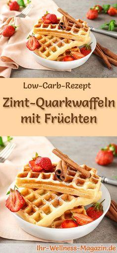 Low-Carb-Rezept für Zimt-Quarkwaffeln mit Früchten: Kohlenhydratarmes Frühstück - gesund, kalorienreduziert, ohne Getreidemehl ... #lowcarb #frühstück