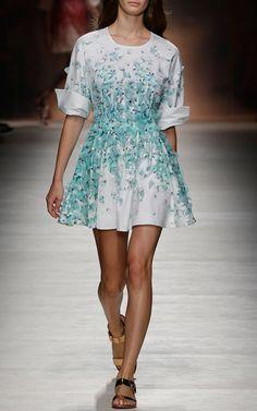Petal Print Cotton Shirt Dress With Petal Embroidery by Blumarine for Preorder on Moda Operandi