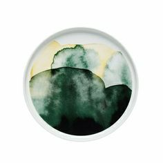 Beautiful deep green and soft yellow watercolors fade into one another on this porcelain piece of dinnerware. Marimekko Sääpäiväkirja White/Green/Yellow Salad Plate - $35