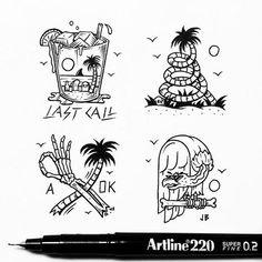 Last Call #jamiebrowneart #artline #lastcall #skull #palmtrees #tropical…