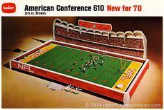 No. 12 ranked Electric Football game of all-time! 1970 Tudor AFC No. 610 model with the Jets and Browns