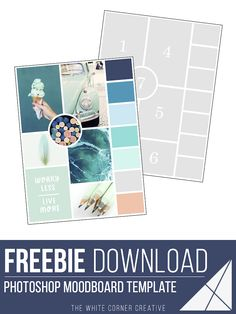 A moodboard is a great way to gather inspiration for your brand design and build a colour scheme. Here is a free moodboard template to help you get started! Free Collage Templates, Project Life, Photoshop, Lightroom, Visualisation, Layout Template, Business Branding, Mood Boards, Photo Book