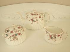 Vintage Minton Ancestral Teapot Creamer Lidded Sugar Tea Set White Blue Red Floral S376