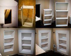 built in bookcase- you could make this lead into a secret room Eingebautes Bücherregal - Sie könnten Bathroom Shelves, Bathroom Storage, Small Bathroom, Bathroom Wall, Bathroom Built Ins, Attic Bathroom, Bathroom Cabinets, Wall Storage, Diy Storage