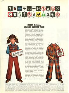 Vintage September 1972 Magazine Paper Doll Betsy McCall Learns Symbol Talk