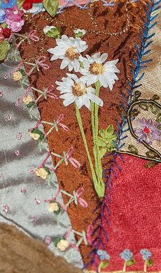 Daisies and crazy stitches bird watchers bag by Mo Pfister, via Flickr