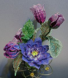 making flowers with wire and beads - Google Search