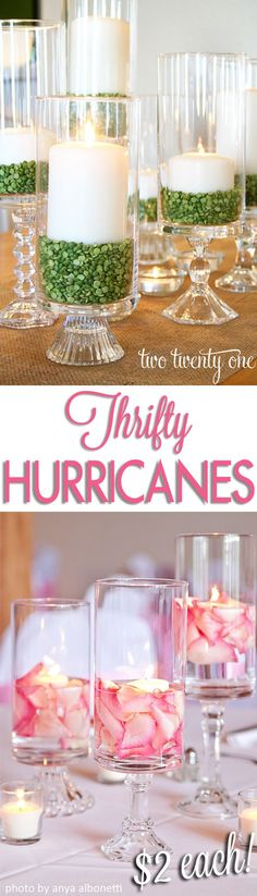 Make hurricanes by gluing candlestick to cylinder vase (from Dollar Tree). Love the green lentils for a pop of color!!