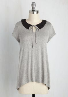 A Place to Collar Home Top in Grey. Looks like you've found that perfect top that makes you feel completely carefree! #grey #modcloth
