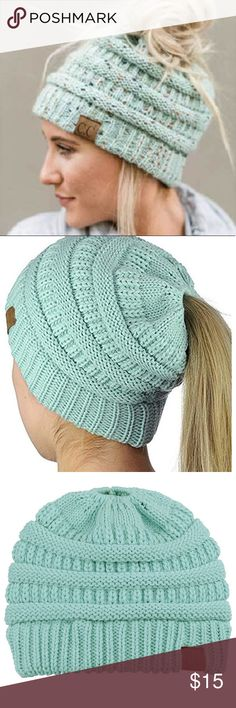 6fbc6a0f3e385 NWOT C.C Messy Bun Beanie Tail Hat in Mint So cute for messy buns or  ponytails! These hats are everywhere this season