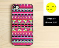 Aztec iPhone 4 case, iPhone 4s case, iPhone 5 case - hot pink tribal print, ethnic pattern iPhone case