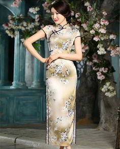 Shop traditional gold full length floral cheongsam qipao dress. Find latest oriental fashion products from idreammart.com.