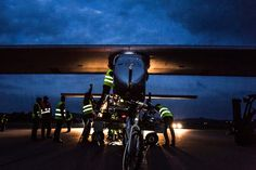 The ground crew around Solar Impulse before the #aircraft's first #flight in #June! Amazing #light! Check out the BEST-OF #photo album of this important moment: http://www.solarimpulse.com/timeline/view/7473