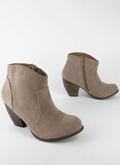 suede chunky heel bootie