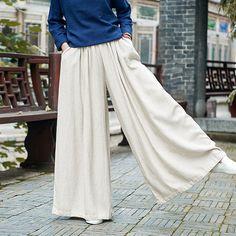 Find More Pants & Capris Information about LZJN Autumn Pants Women Skirt Pants Elastic Waist Cotton Linen Trousers Loose Bottoms Pantaloni Donna Pantalon Femme BXF2302,High Quality Pants & Capris from LZJN - Store on Aliexpress.com