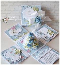 Exploding box with cacke … Magic Box, Memories Box, Wedding Boxes, Wedding Cards, Exploding Gift Box, Organizer Box, Scrapbook Box, Pop Up Box Cards, Surprise Box
