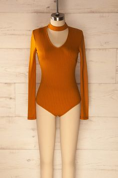 Gola Moutarde - Vintage V-neck bodysuit