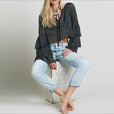 Fashion Women Chiffon V-Neck Flare Long Sleeve Striped Crop Tops Blouse