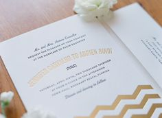 Vintage Beach Wedding Invitations by Bella Figura with chevron accents in gold foil
