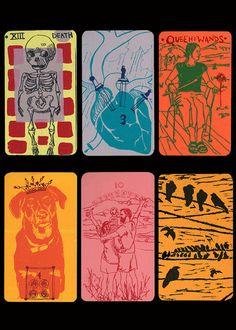 silkscreen tarot cards.  Artist unknown
