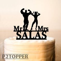 Wedding cake topperMuscleman and muscle woman cake by P2Topper