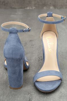 Taylor Blue Suede Ankle Strap Heels 10
