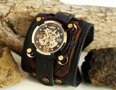 Leather Cuff Watch, Men's Wide Layered, Deep Black and Dark Brown, Leather Cuff, Steampunk Watch Face by BellozziDesigns on Etsy