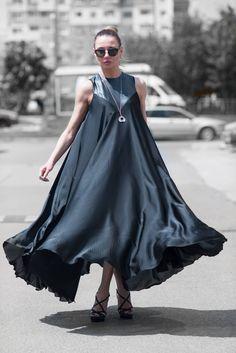 Maxi Dress, Satin Kaftan, Summer Long Dress, Party Dress, Kaftan Dress, Plus Size Clothing, Loose Wedding Dress, Womens Clothes - DR0170CH