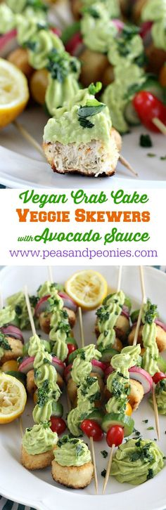Vegan Crab Cake Veggie Skewers are fun and colorful, perfect for an appetizer or dinner, loaded with crispy veggies and topped with a creamy avocado sauce. Peas and Peonies