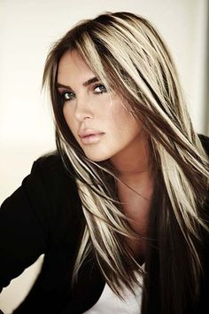 Beautiful long hairstyle with blond and brown highlights