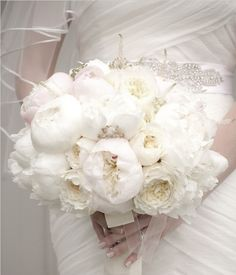 White peonie wedding bouquet, the flower that is the most delicate and precious. Only blooms for 2 weeks.