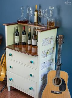 Upcycled: Old Chest of Drawers to Wine Bar   DIY furniture makeover  Upcycled furniture   DIY Wine Bar   From dresser to wine bar   Homemade chalk paint   Painted and upholstered furniture   Upholstery   Farmhouse style furniture   Annie Sloan Old White color   Fabric onlay   Painted wood furniture  Transformed furniture   Before & After   TheNavagePatch.com