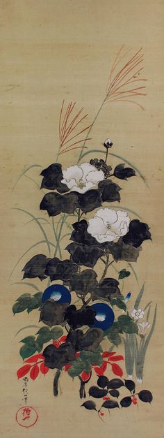 Antique Japanese Hanging Scroll Fine Art Painting Summer