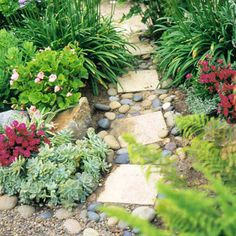 Appealing Path: Cut stone, river rock, gravel, and sand are the main ingredients in this appealing path. Though it looks random and rustic, it follows a definite plan.
