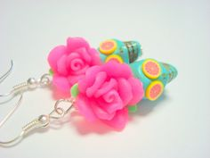 Turquoise and Pink Grapefruit  Day of the Dead Roses and Sugar Skull Earrings by PennysLane, $8.50