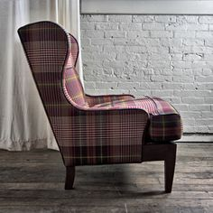 Chair no. 180 in Plaid    STYLE  Leather club chair  Modern Wingback chair  Library chair  British Gentleman's chair