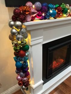 9 foot Rainbow Shatterproof Christmas Ornament Garland with Triple stranded warm White LED Lights! Shabby Chic Christmas, Victorian Christmas, Pink Christmas, Beautiful Christmas, Christmas Holidays, Christmas Flowers, Happy Holidays, Christmas Window Decorations, Vintage Christmas Ornaments