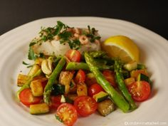 Cod with brown shrimp and summer veg medley - 5-2 diet recipe