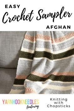 Meet Hortense from Knitting With Chopsticks - Crochet Sampler Afghan - YarnHookNeedles Crochet Afghans, Crochet Sampler Afghan Pattern, Crochet Blanket Patterns, Crochet Blankets, Baby Afghans, Afghan Patterns, Throw Blankets, Crochet Bear, Easy Crochet