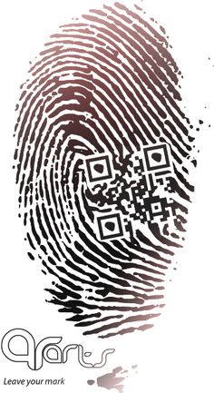 This is an awesome QR Code in the Fingerprint. Leave your mark #slogan.