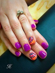 Fun Summer Nails Nails by Haley Harris Acrylic nails, purple, orange, boho design