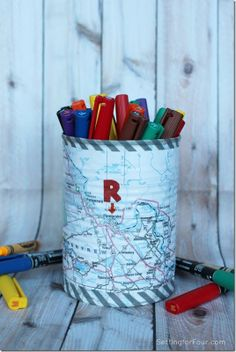 DIY Map Pen Holder Kids Craft www.settingforfou...