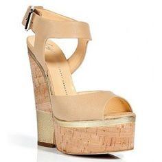 Giuseppe Zanotti Beige and Gold Cork Wedge Sandals