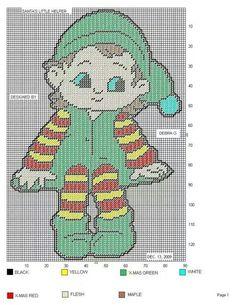 SANTA/'S LITTLE HELPERS ADORABLE ELVES CHRISTMAS ALPHABET CROSS STITCH CHART