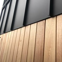 Where the timber meets the matt black colorbond. Can't go wrong with this combination! Roof Cladding, House Cladding, Timber Cladding, Exterior Cladding, House Siding, Wall Cladding, Facade Design, Roof Design, House Design