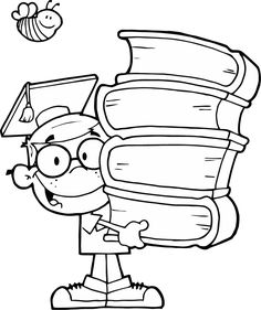 A Black and White Cartoon of a Boy Holding a Stack of Books - Royalty Free Clipart Picture Colouring Pages, Free Coloring, Coloring Books, Black White, Black And White Cartoon, Royalty Free Clipart, School Clipart, Cartoon Boy