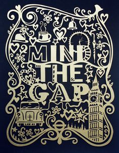 Mind The Gap London laser cut  made from sturdy 300gsm GOLD paper. 20cm x 26cm from julene http://www.etsy.com/shop/julene